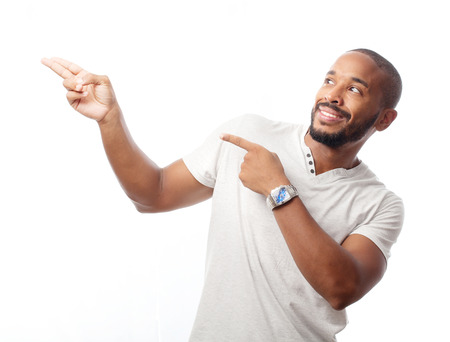 young cool black man pointing Imagens - 35048235