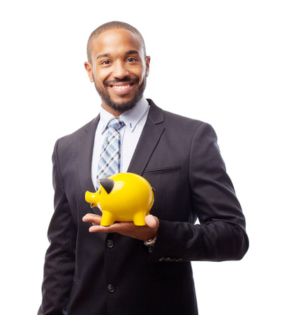 young cool black man with piggy bank