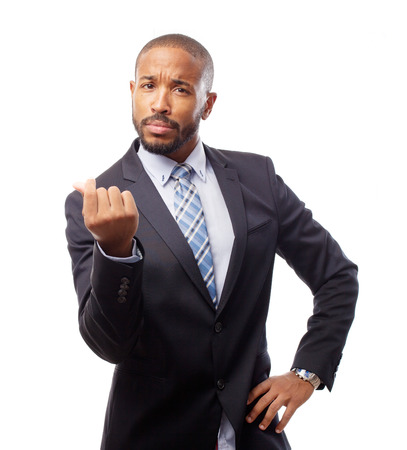 oney: young cool black man savings or oney sign Stock Photo