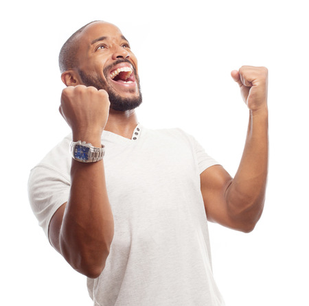young cool black man celebratin sign Stock Photo