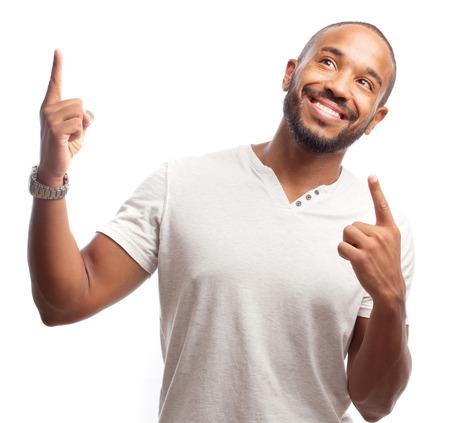 hombres negros: fresca joven hombre negro victoria gesto Foto de archivo