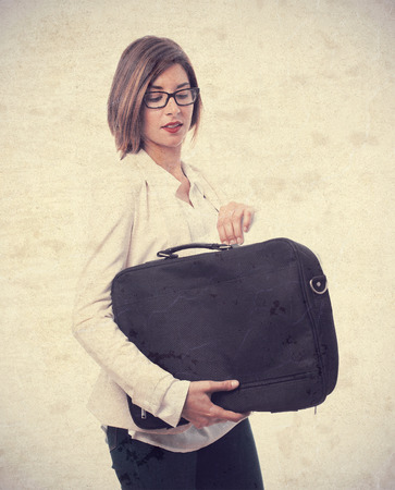 suit case: young cool woman with a suit case
