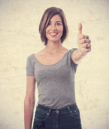 all right: young cool woman all right sign Stock Photo