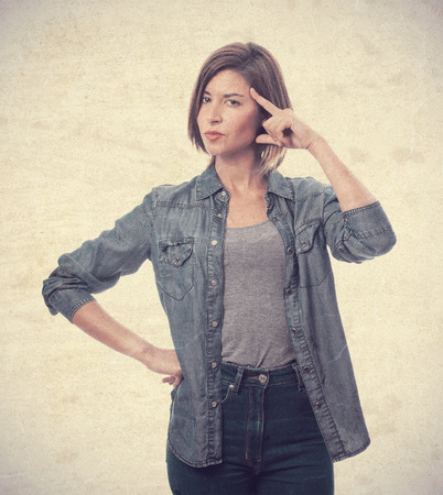 young cool woman thinking photo