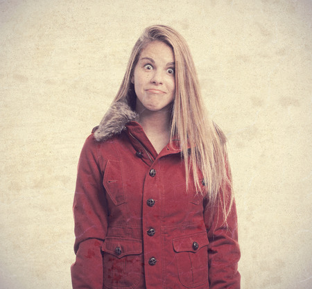 derision: young cool woman joking Stock Photo