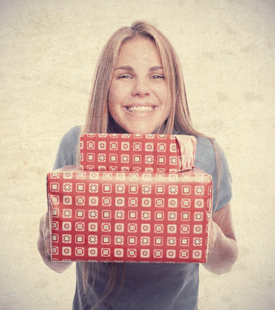 young cool woman with gifts Stock Photo
