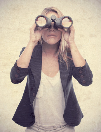 young cool woman with binoculars