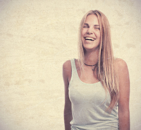 smile please: young cool woman laughing