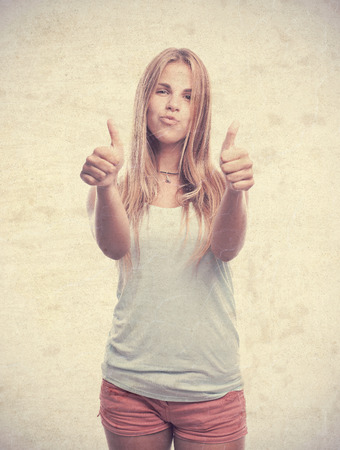 all right: young cool woman all right gesture Stock Photo