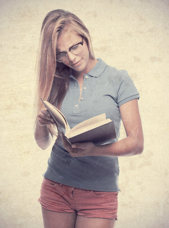 young cool woman with a book