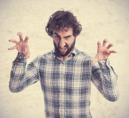 provoked: young bearded man Stock Photo