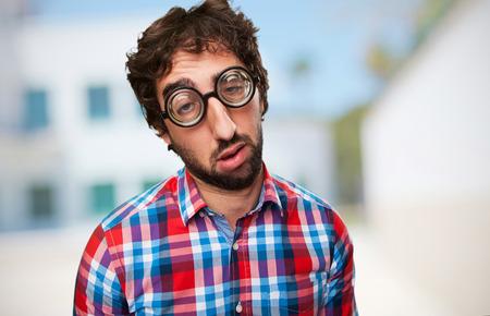 tedious: crazy boring man Stock Photo