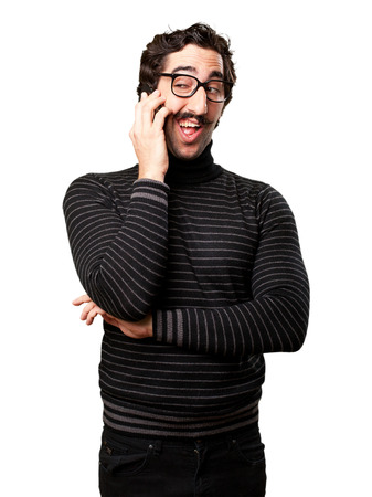 pedantic man speaking on phone