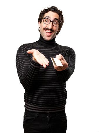 pedantic: pedantic man with credit card Stock Photo