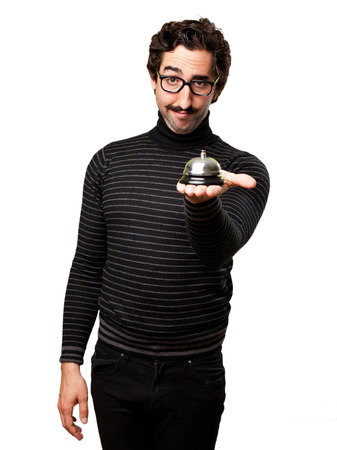 pedantic: pedantic man with a bell Stock Photo