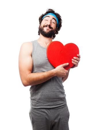 sportsman: sportsman with love heart