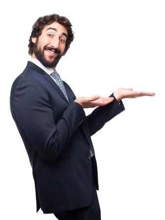 alzando la mano: hombre de negocios gesto de la demostración