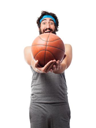 sportsman: sportsman with basketball ball