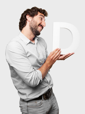 crazy man with a letter D photo