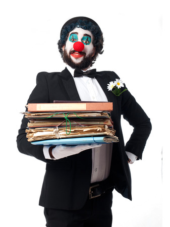 named person: clown with archives Stock Photo