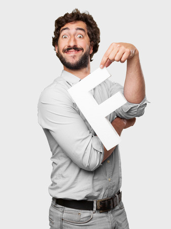 crazy man with a letter F photo