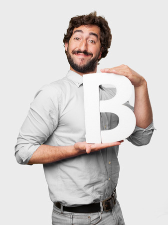 crazy man with a letter B photo