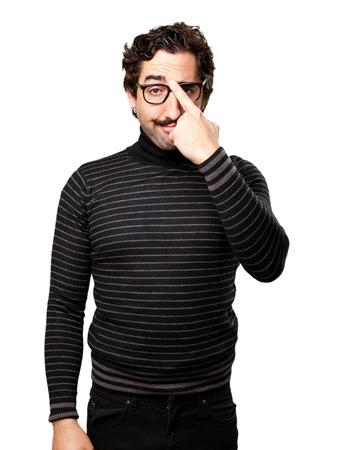 pedantic: pedantic man intelligence gesture Stock Photo