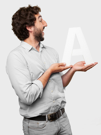 crazy man with a letter A photo