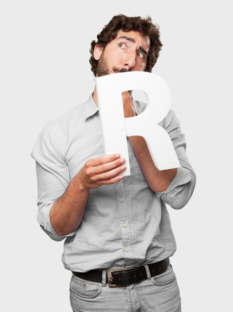 crazy man with a letter R photo