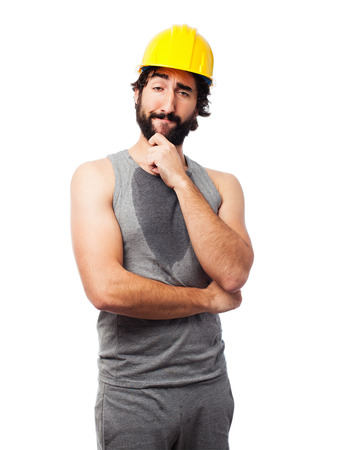 builds: builds worker thinking Stock Photo