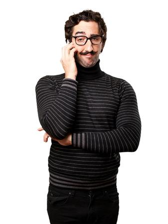 meticulous: pedantic man speaking on phone