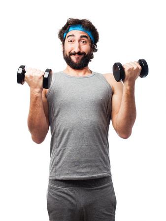 sportman with dumbbells