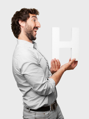 crazy man with a letter H photo