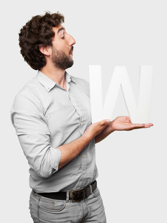 crazy man with a letter W photo