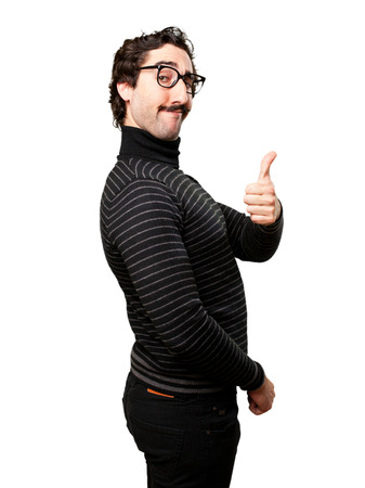 pedantic: pedantic man okay sign Stock Photo