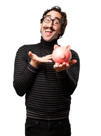 pedantic: pedantic man with a piggy bank