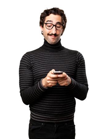 pedantic: pedantic man looking at phone