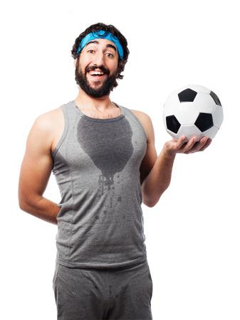 sportsman: sportsman with football ball Stock Photo