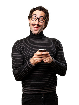 pedantic: pedantic man with a phone