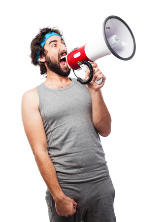 sportsman with a megaphone Imagens