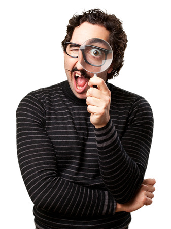 pedantic: pedantic man with a magnifier surprised