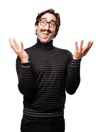 pedantic: pedantic happy man laughing Stock Photo