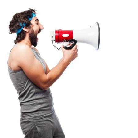 sportsman: sportsman with megaphone