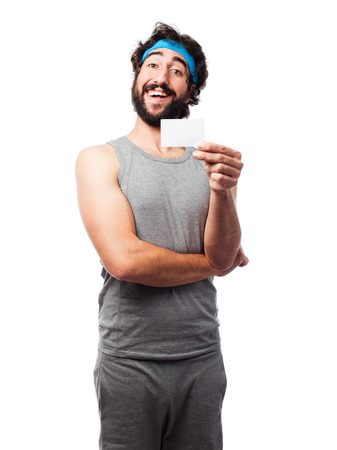 philatelic: sportsman with a name card Stock Photo
