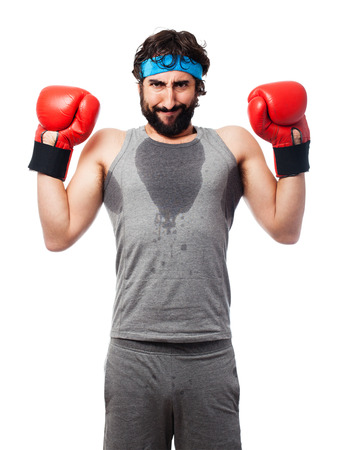 sportsman: sportsman with boxing gloves Stock Photo