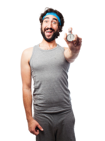 timer: sportsman with timer Stock Photo