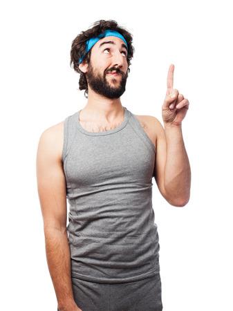 sportsman: sportsman pointing up Stock Photo