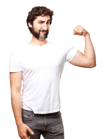 in vain: crazy strong man Stock Photo