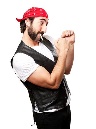 jewish group: biker man fighting Stock Photo