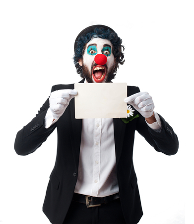 clown with a banner